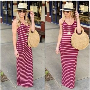 NEW Burgundy striped racer back maxi dress